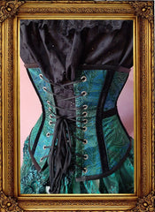 back view of the peacock brocade steel boned under bust corset