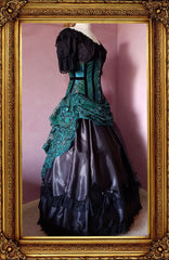 side view of the peacock brocade corset and green lace victorian bustle gown
