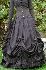 pinstripe victorian wedding dress perfect for mature brides