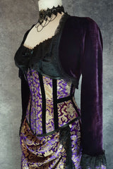 purple stretch velvet Bolero Shrug, black lace trim at hem and sleeves to be worn with a corset to show off the waist
