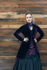 gothic fashion dark purple stretch velvet womens bolero jacket made in Australia