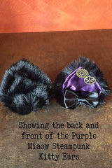 showing front and back of the purple miaow amethyst satin, faux black fur, steampunk cogs, handcrafted bespoke steampunk kitty ears made in Western Australia, exclusive stockist is Gallery Serpentine