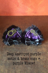 purple miaow amethyst satin, faux black fur, steampunk cogs, handcrafted bespoke steampunk kitty ears made in Western Australia, exclusive stockist is Gallery Serpentine