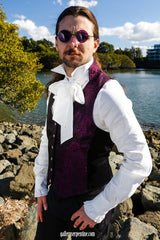 brocade vest worn over white aristocrat gothic steampunk formal mens shirt