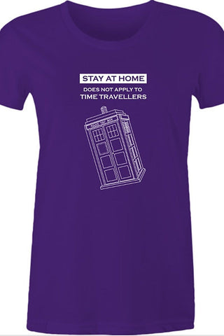Purple Women's  #stayathome meme tee