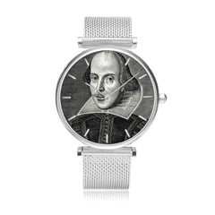 front on view of the 33mm diameter Shakespeare image watch in silver