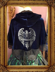 NEW Inspired by House Ravenclaw design in a dark blue velvet, black lace trimmed with either an eagle print in silver metallic or gold metallic ink
