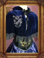 front view of the NEW Inspired by House Ravenclaw design in a dark blue velvet, black lace trimmed with either an eagle print in silver metallic or gold metallic ink