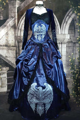 under bust victorian corset for harry potter Ravenclaw cosplayers screenprinted with a unique eagle