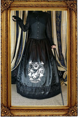Victorian Ravenclaw inspired satin skirt and hoop skirt made in Australia for Gallery Serpentine