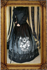 side front angle with cane showing the Victorian Ravenclaw inspired satin skirt and hoop skirt made in Australia for Gallery Serpentine