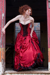 red gothic wedding dress includes steel boned corset
