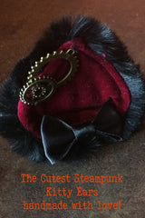 close up of the red velvet, faux black fur, steampunk cogs, handcrafted bespoke steampunk kitty ears made in Western Australia, exclusive stockist is Gallery Serpentine