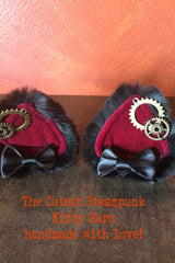 red velvet, faux black fur, steampunk cogs, handcrafted bespoke steampunk kitty ears made in Western Australia, exclusive stockist is Gallery Serpentine