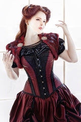worn as part of the Dragons Blood Wedding Gown is the gothic victorian and steampunk over bust steel boned corset made to measure by corset makers for Gallery Serpentine clients