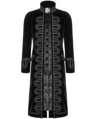 new men's 3/4 length gothic victorian aristocrat coat with baroque lace and braid detailing made from black velvet