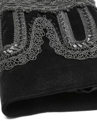 up close detail of the cuff decoration on the new men's 3/4 length gothic victorian aristocrat coat with baroque lace and braid detailing made from black velvet