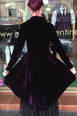 gothic dark rich purple stretch velvet womens jacket high low style made in Australia