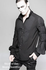 on male model without the cravat on shirt of the storm sorcerer black gothic victorian mens shirt