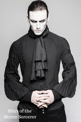 shirt of the storm sorcerer black gothic victorian mens shirt with black satin cravat