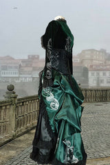 side view of the Potion Mistress Corset Gown made in Australia for Slytherin fandom in a baroque style