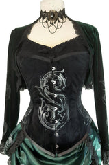 suggested bolero and under corset top to wear with the Baroque S slightly Slytherin inspired Potion Mistress Corset on black velvet australian made