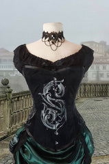 Baroque S slightly Slytherin inspired Potion Mistress Corset on black velvet australian made on balcony