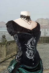 side front view of the Baroque S slightly Slytherin inspired Potion Mistress Corset on black velvet australian made