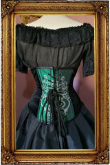 back view of the Slytherin victorian corset handmade in Australia on emerald green taffeta with black velvet sides, steel boned