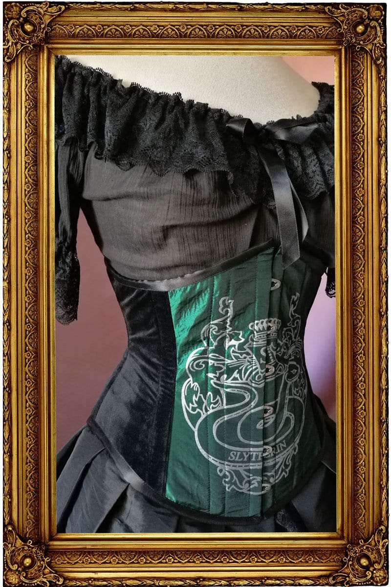 Slytherin victorian corset handmade in Australia on emerald green taffeta with black velvet sides, steel boned
