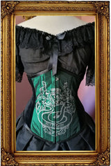 front on view of the Slytherin victorian corset handmade in Australia on emerald green taffeta with black velvet sides, steel boned