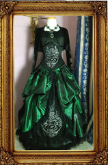 front view of the skirt set for the Harry Potter Slytherin House cosplay costume in a victorian style