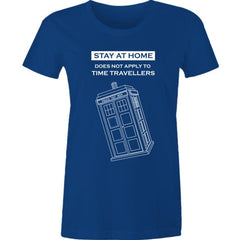 funny Dr Who meme t-shirt for women with a police box graphic and reference to Time Travellers