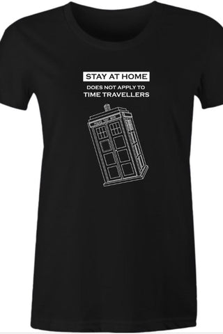 Women's black #stayathome meme tee