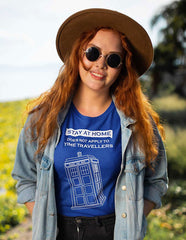 womens funny Tardis Dr Who themed meme tee worn by a long haired model in a field