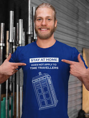 smiling blonde bearded man wearing a blue Time Traveller's funny meme tshirt