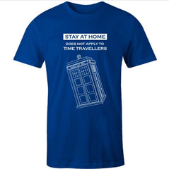 blue men's tshirt printed with a white Time Travelling Dr Who Tardis theme meme