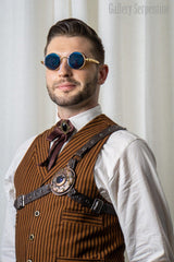 steampunk borg harness and An old wild west frontier style tie with a modern gothic and steampunk twist on a male steampunk model