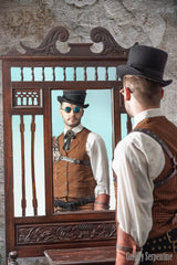 steampunk westworld styled shoot for the Tan Outlaw Vest from genuine 1800s old wild west frontier menswear vest pattern