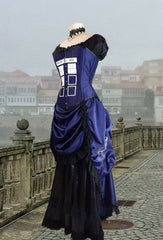 front side view showing Police Box tardis print on the Police Box Blue Tardis corset gown victorian style made in Australia made to measure