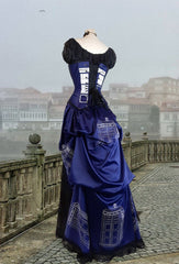 side back view of the Police Box Blue Tardis corset gown victorian style made in Australia made to measure