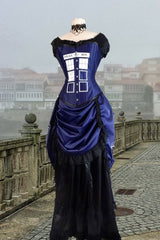full front view on dressmakers form of the Police Box Blue Tardis corset gown victorian style made in Australia made to measure