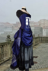 side view showing the victorian bustle and over bust steel boned corset of the Police Box Blue Tardis corset gown victorian style made in Australia made to measure