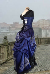 Police Box Blue Tardis corset gown victorian style made in Australia made to measure