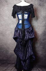 full length back view of the Police Box over bust corset made for Dr Who tv series fans, made in Australia