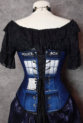 back view showing lacing and second print of the Police Box digital print on the new Police Box corset