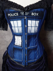 close up of the new Police Box Whovian fandom corset made in Australia