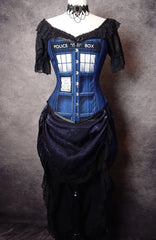 full length front view of the Police Box corset made in Australia for Whovian, Dr Who fans