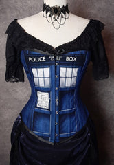 front view close up of the new Police Box Whovian fandom corset made in Australia