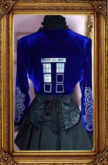 Dr Who Tardis Galifrey language screen printed blue stretch velvet cosplay bolero made in Australia, back view
